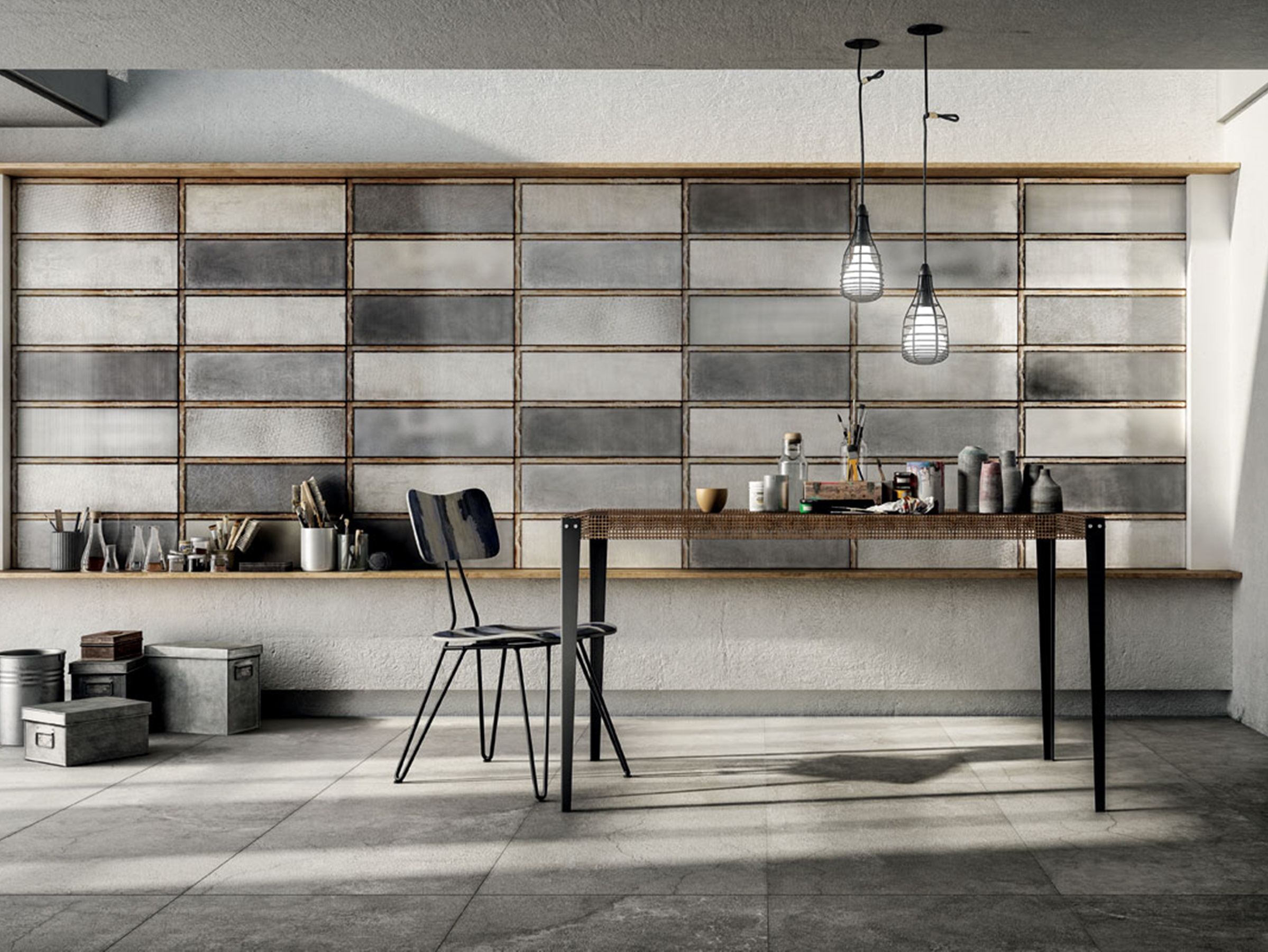 Diesel Living Série Industrial Glass & Solid Concrete
